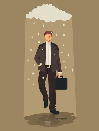 Sad man office worker character under rain. Bad luck concept. Vector flat cartoon graphic design illustration Illustration