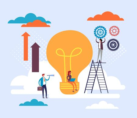 Business teamwork and good idea concept. Vector flat cartoon graphic design illustration Ilustracja