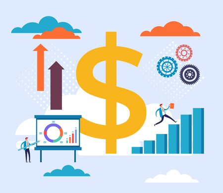 Currency dollar concept. Vector flat cartoon graphic design illustration
