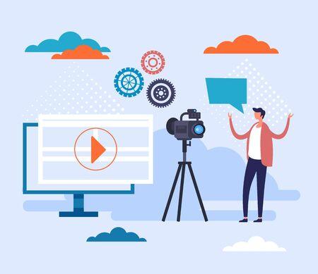Internet video blogging concept. Vector flat cartoon graphic design illustration