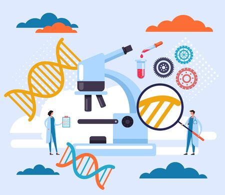 Research dna chromosome medicine science concept. Vector flat cartoon graphic design illustration