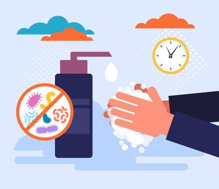 Sanitizing hand personal hygienic concept. Vector flat cartoon graphic design illustration