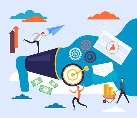 Digital marketing organization promotion concept. Vector flat cartoon graphic design illustration Ilustracja