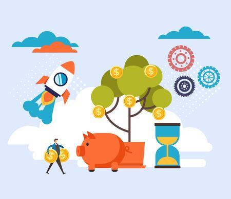 Business banking start up success concept. Vector flat cartoon graphic design illustration