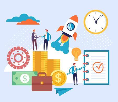 Business development start up money increase concept. Vector flat cartoon graphic design illustration Ilustracja