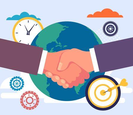 Global business deal agreement handshake concept. Vector flat cartoon graphic design illustration