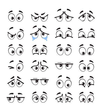 Cartoon eyes emotion characters isolated set. Vector flat cartoon graphic design illustration Ilustracja
