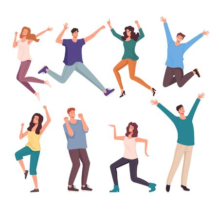 Happy smiling people characters jumping isolated set. Vector flat cartoon graphic design illustration