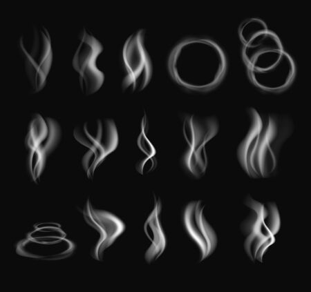 Realistic smoke steam isolated set. Vector flat graphic design illustration