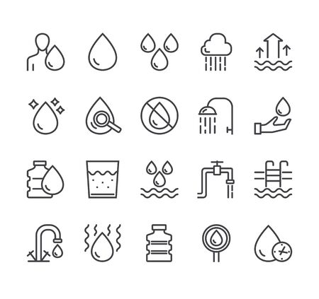 Water line black pictogram icon isolated set. Vector flat graphic design
