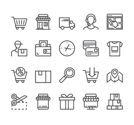 Shopping commerce delivery line icon isolated set. Vector flat graphic design