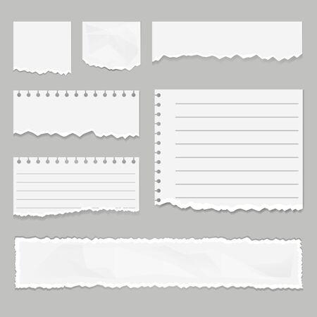 Paper scraps isolated set. Vector graphic design illustration