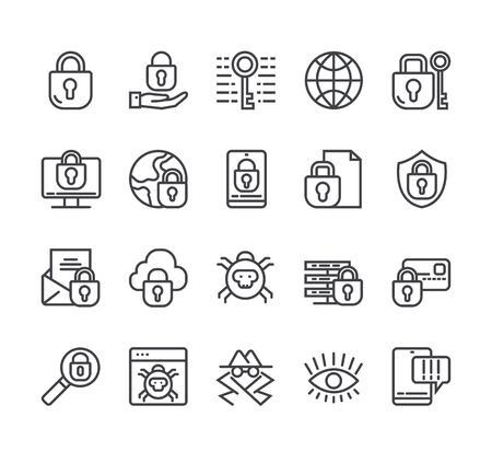 Data protection personal information line icon isolated set. Vector flat graphic design