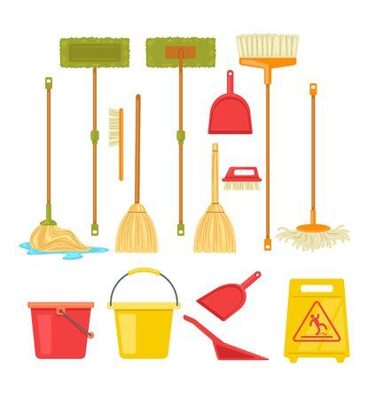 Cleaning tools broom mop supplies isolated set. Vector flat cartoon graphic design illustration Ilustracja