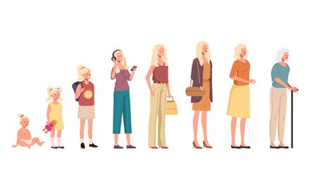 Woman character in different age steps concept. Vector flat cartoon graphic design illustration Ilustracja