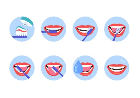 Brush clean teeth hygiene steps instruction isolated set. Vector flat cartoon graphic design illustration