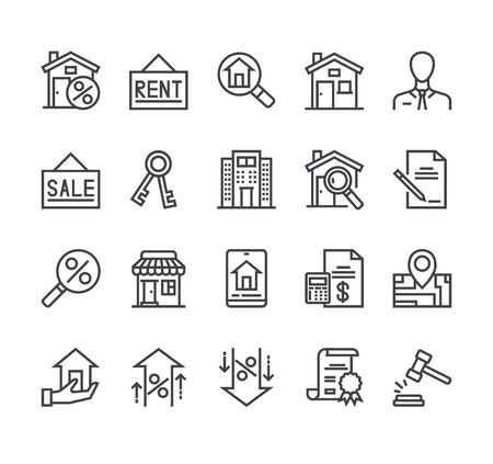 Real estate house rent sale line icon isolated set. Vector flat cartoon graphic design illustration