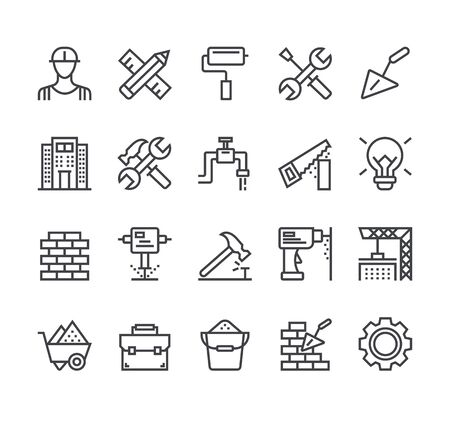 Construction tool line icon isolated set. Vector flat cartoon graphic design illustration