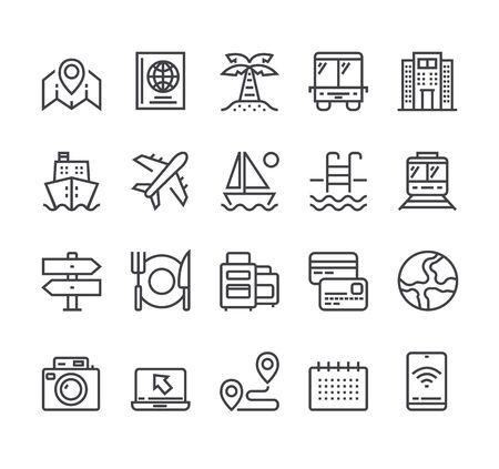 Tourism travel line icon isolated set. Vector flat cartoon graphic design illustration