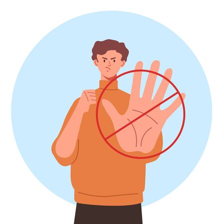 Stop hand arm gesture concept. Vector flat cartoon graphic design illustration