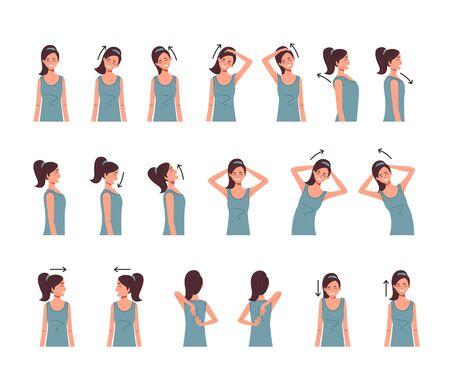 Nacken Schulter Wirbelsäule Übung isoliert Set. Vektor flache Karikaturgrafikdesignillustration