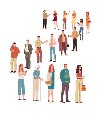 Big queue order waiting line people characters concept. Vector flat cartoon graphic design illustration Ilustracja