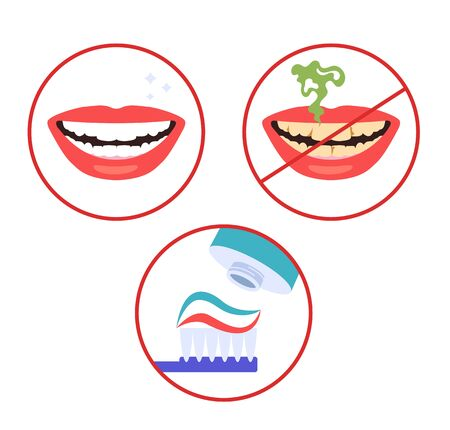 Clean and dirty teeth smile mouth. Dental hygiene concept. Vector flat cartoon graphic design illustration