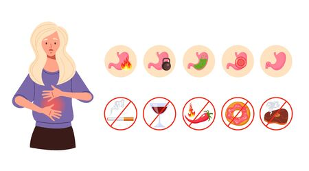 Gastritis symptoms concept. Vector flat cartoon graphic design illustration Illustration