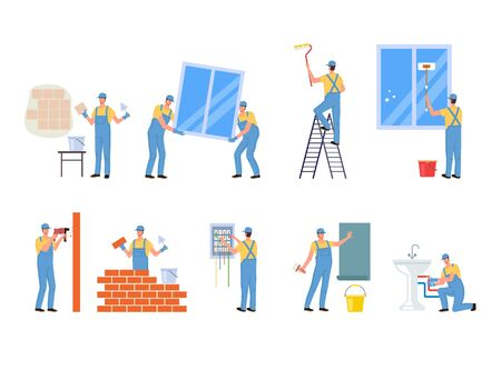 Repair professional worker character isolated set. Vector flat cartoon graphic design illustration Ilustracja