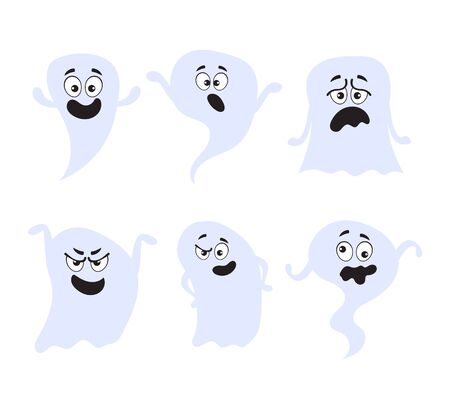 Fun scary smile happy sad good bad ghost characters isolated set. Vector flat cartoon graphic design illustration