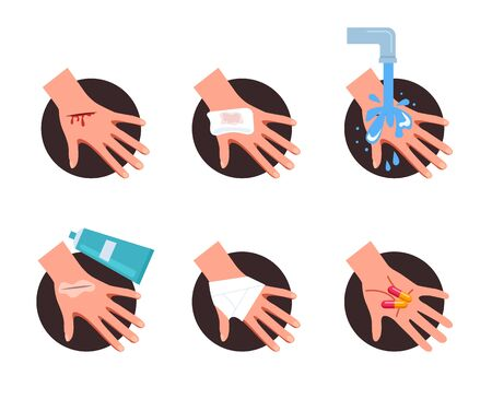 First aid step for wound skin help. Vector flat cartoon graphic design illustration