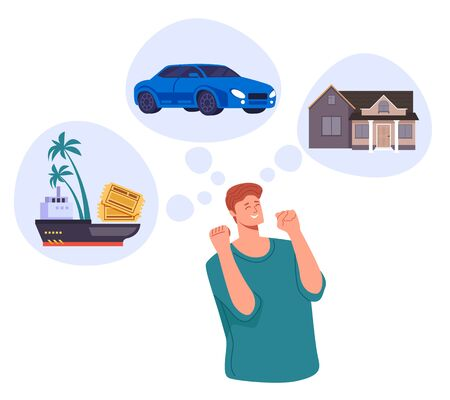 Man character dream about house car summer vacation. Vector flat cartoon graphic design illustration