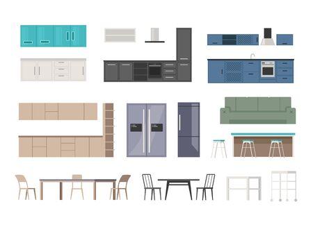 Kitchen furniture isolated set. Vector flat graphic design cartoon illustration Ilustracja