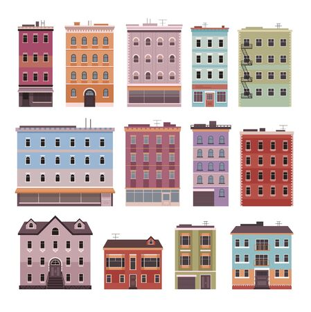 Building house home real estate isolated set. Vector flat graphic design cartoon illustration Ilustracja