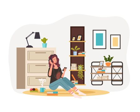 Happy smiling girl woman character listen musing sitting on floor at home. Vector flat graphic design cartoon illustration Ilustracja