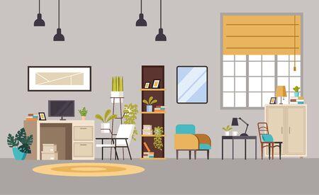 Home office cabinet living room interior concept. Vector flat graphic design cartoon illustration