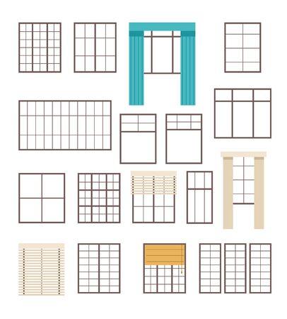 Window line isolated set. Vector flat graphic design cartoon illustration Ilustracja