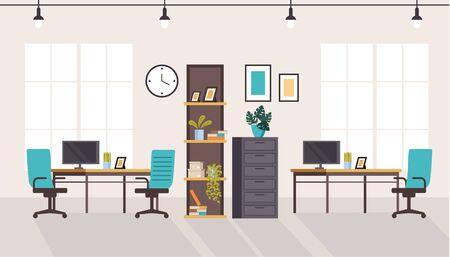 Office workstation furniture interior concept. Vector flat graphic design cartoon illustration Ilustracja