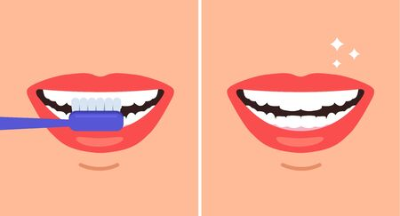 Brushing cleaning teeth steps concept. Vector flat graphic design cartoon illustration