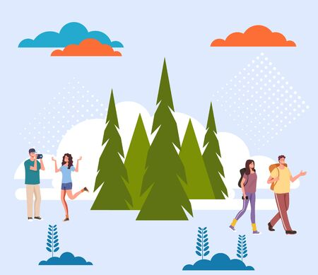 Tourists people characters travel forest nature concept. Vector flat graphic design cartoon illustration