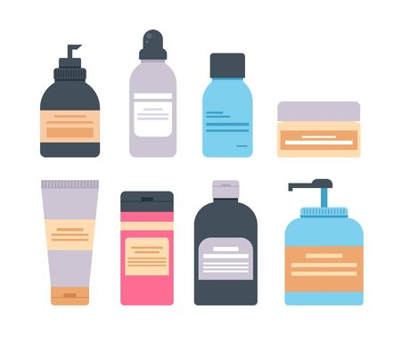 Cosmetic body face hair skin skin bottle isolated set. Vector flat graphic design cartoon illustration