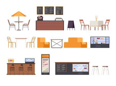 Cafe restaurant furniture isolated set. Vector flat graphic design cartoon illustration