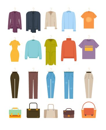 Man woman different clothes and bags isolated set. Vector flat graphic design cartoon illustration Ilustracja