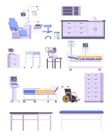 Hospital medicine doctor office furniture isolated set. Vector flat graphic design cartoon illustration