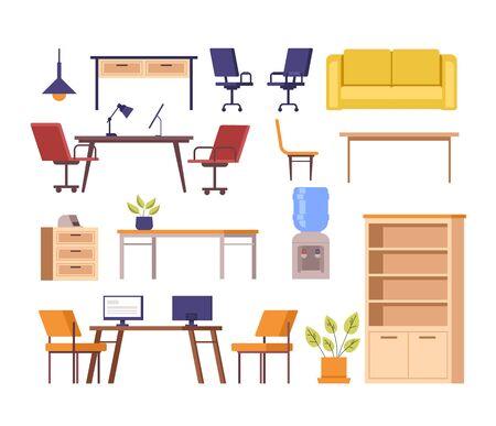 Office furniture isolated set. Vector flat graphic design cartoon illustration Ilustracja