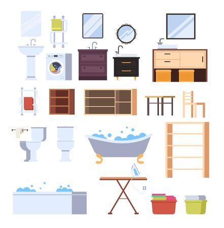 Bathroom furniture isolated set. Vector flat graphic design cartoon illustration