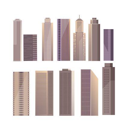 Modern building skyscraper isolated set. flat graphic design cartoon illustration