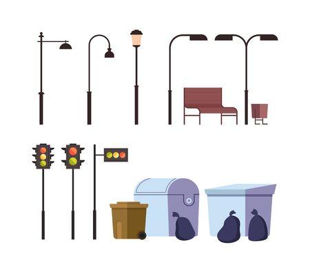 Street elements isolated set. Vector flat graphic design cartoon illustration Ilustracja