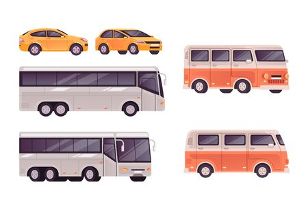 Public transport bus, car, minivan isolated set. Vector flat graphic design cartoon illustration