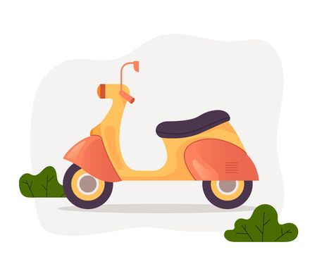 Moped bike motorcycle scooter isolated concept. Vector flat graphic design cartoon illustration